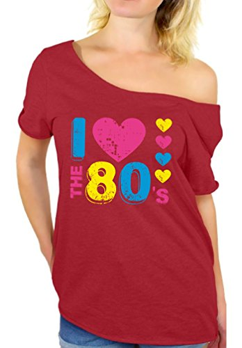 Awkward Styles Women's I Love The 80's Off The Shoulder Tops For Women T Shirts For 80's Fans Red - Female In Top Gun