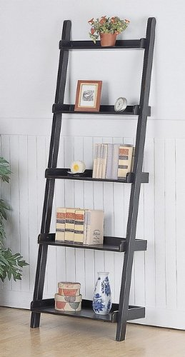 Coaster Home Furnishings Weathered Black Ladder Bookshelf/Book Case Accent Piece Stand
