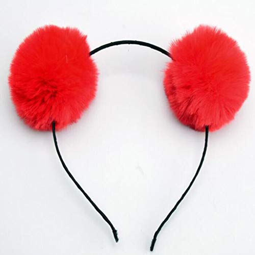 Adult Child Cloth Wrapped Stretchy Headband Cute Panda Ears Hair Hoop Dual Big Bright Colorful Fluffy Pompom Ball Photo Props He Buy One Get One Free Apparel Accessories