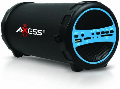 AXESS SPBT1031BL Portable Bluetooth Indoor/Outdoor 2.1 Hi-Fi Cylinder Loud Speaker with Built-In 3