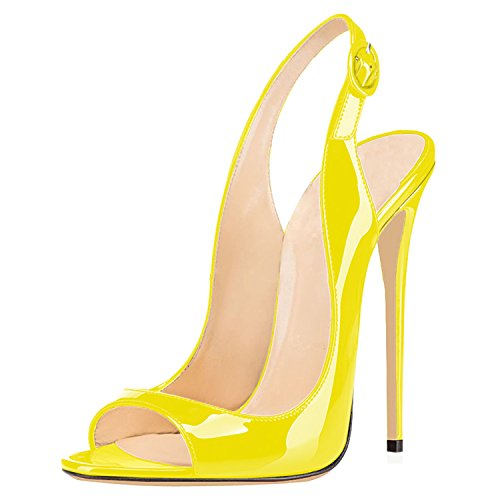 Strap Toe Open Ankle Stiletto For Women Shoes High Yellow Sandals Heels Ubeauty Heel Slingback Hwq0P7MY