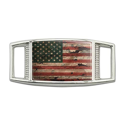 (Rustic American USA Flag Distressed Rectangular Shoe Shoelace Shoe Lace Tag Runner Gym Charm)