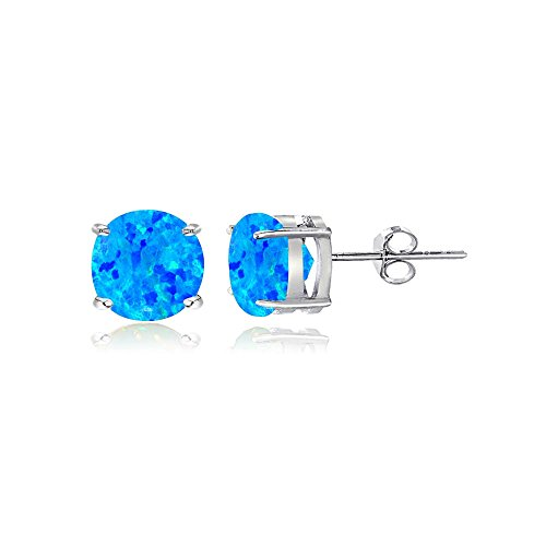 Sterling Silver Created Blue Opal 5mm Round Stud (Blue Opal Earrings)