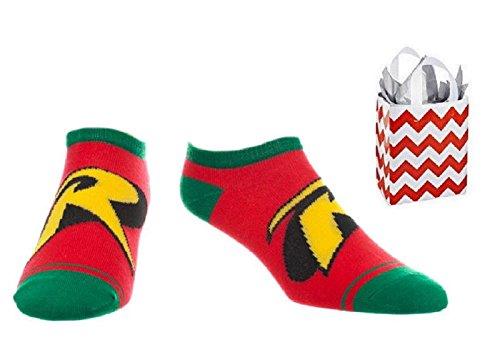 DC Comics Logo Adult No Show Ankle Socks & Bag - 2 Piece Gift Set (9-11, Robin)]()