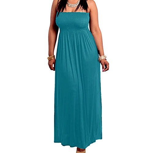 8511 - Smocked Chest Strapless Tube Long Maxi Beach Cover-up Dress (3X, Teal Blue)
