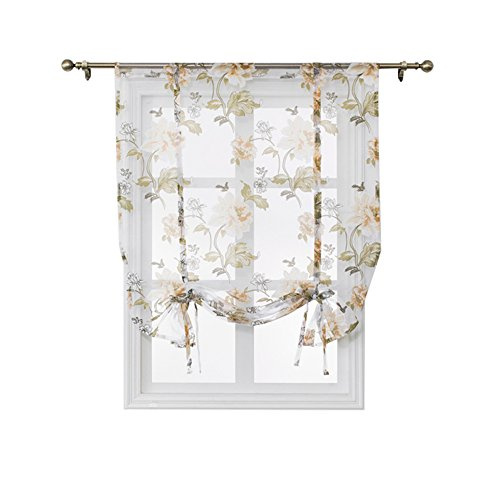 (SINOGEM Kitchen Short Sheer Curtains Burnout Roman Blinds Sheer Panel Tulle Window Treatment Door Curtains Home Decor-Tie Up Sheer for Small Window (Yellow, 47