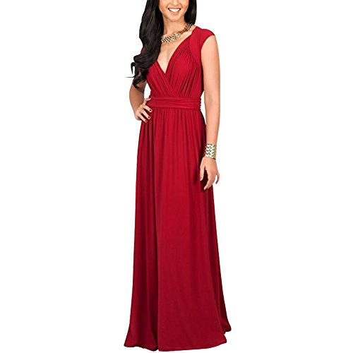 Hemons Women Large Size Dress Evening Gown High-end Fashion Pure Color Sexy Dress (XL, Red) (Sexy Fancy Dress Men)