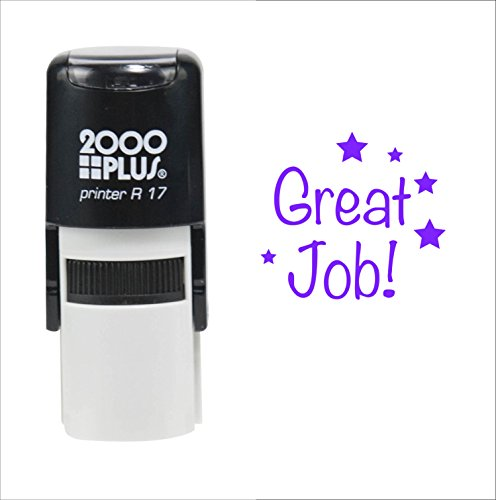 Custom Product Solutions Great Job! for Students 2000 Plus Self Inking Rubber Teacher Stamp - Violet Ink