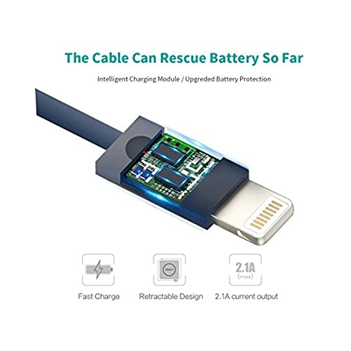 lovely Retractable Lightning Cable, Rock 2.4 Ft/0.8 M 8 Pin iPhone Charging Cable Data Sync USB Charger Cord For iPhone X, 8, 8 Plus, 7, 7 Plus, 6s, 6s Plus, 6, 6 Plus, SE, 5s, iPad ( Blue)