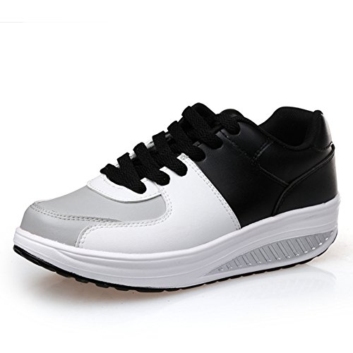 Cybling Womens Walking Wedges Sneakers Comfort Outdoor Exercise Athletic Travel Shoes Zwart
