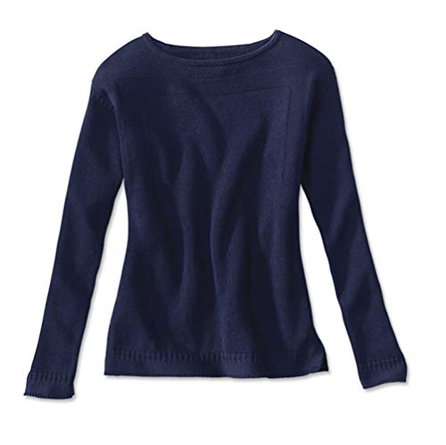 Orvis Women's Cotton/Cashmere Boatneck Sweater, Navy, Medium