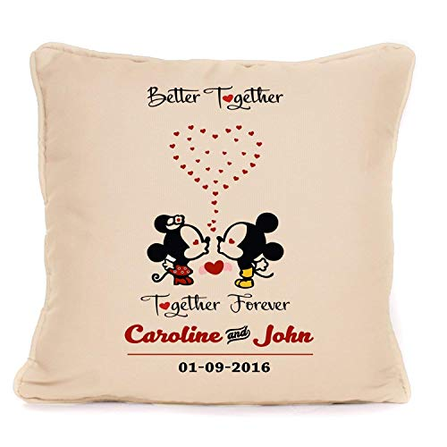 Personalized Cushion Pillow Cover | Wedding Anniversary, Valentines Day Gifts for Him or Her | Mickey And Minnie Mouse Better Together Forever - 18x18 Inch