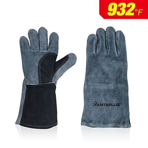 Tig Welder Glove Mig (Fantaplus Welding Gloves - Heat Resistant & Wear Resistant Lined Leather and Fireproof Stitching - Multifunction For Tig/Mig Welders/Fireplace/BBQ/Gardening/Grilling/Stove (14-Inch, Red) (Navy Blue))