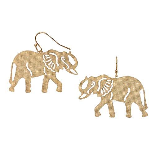 Big Al Alabama Costume (Gold Tone Elephant Stencil Filigree Fish Hook Earrings)