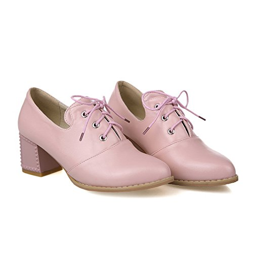 Pointed Kitten Closed Solid Pink WeenFashion Toe Up Heels Pumps Women's Shoes Lace Snwnq4AT