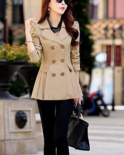 Stile Double Breasted Giovane Modern Manica Kaki Donna Outwear Invernali Puro Slim Giacca Outerwear Cappotto Lunga Anteriori Tasche Colore Bavero Fit 4YpTRXq