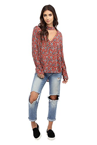 Price comparison product image Floral Cut Out Chocker Top (small,  rust)