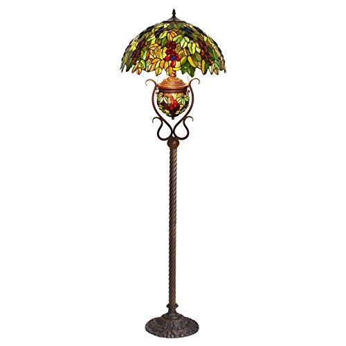 Bieye L10415 20-inches Grapes Tiffany Style Stained Glass Floor Lamp, Double Lit