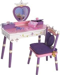 Amazon Com Wildkin Princess Vanity Table Amp Chair Set