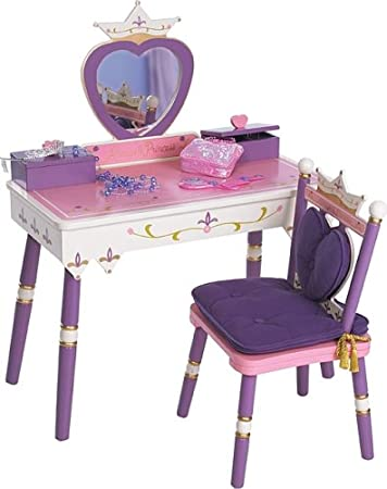 Levels of Discovery Princess Vanity Table and Chair Set. Amazon com  Levels of Discovery Princess Vanity Table and Chair