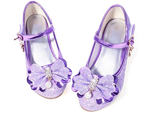 Girls Shoes Mary Jane Size 1 Purple Bridesmaid Party High Heels Shoes for Little Teen Flower Girls 10 Yr Kids Cute Cosplay Wedding Princess Dress Glitter 03Purple -