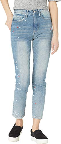 Couture Zip Juicy (Juicy Couture Women's Floral Embroidered Girlfriend Jeans Big Sur Wash 24 27)