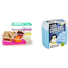 EasyLunchboxes 3-Compartment Bento Lunch Box Containers, Set of 4, Brights and Fit & Fresh Cool Coolers Slim Lunch Ice Packs - Set of 4 Bundle