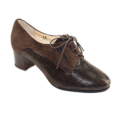 Hergos H 9202dunkelbraunem Wildleder–Schuhe elegante, bequeme–Winter und Half Scoop, echtes Leder Dunkelbraun
