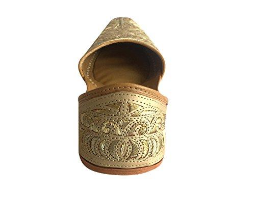Schritt N Style Herren Schuhe Khussa jutti Ethnic Sherwani Brautschmuck handgefertigt Traditionelle indische Schuhe cremefarben/goldfarben