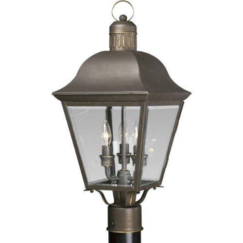 Progress Lighting P5487-20 3-Light Andover Post Lantern, Antique Bronze - Oxford Bronze Candle