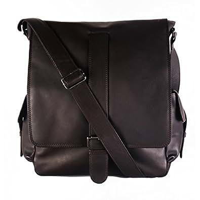 """FEYNSINN bolso tipo cartero ASHTON - piel genuina marrón - bolso para hombro - XL - bandolera para tablet, iPad, 13"""", laptop (26 x 34 x 10 cm)"""