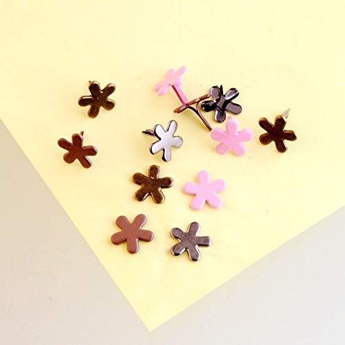 Garment Rivet - 50PCs Mixed Pastel Flower Brads Scrapbooking Embellishment Holiday Decoration & Gift 14x14mm F1104