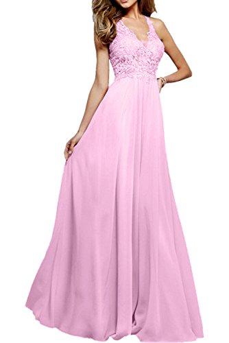 Promkleider Dunkel Partykleider Linie Damen Elegant Rosa A Abendkleider V Rosa Lang Durchsichtig Charmant Ausschnitt paw8F