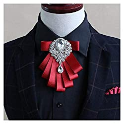 Men's Pre Tied Ribbon Bow Tie With Rhinestone Crystal Brooch
