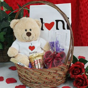 Image Unavailable. Image not available for. Color: I Love You Teddy Bear Gift Basket
