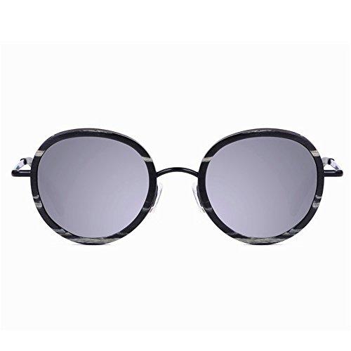 Gafas de de Pesca Gafas Sol Playa Gafas polarizadas Lente conducción y Estilo pequeño Madera Metal Libre Hecho Sol al a Exquisito Aclth UV protección Retro Mano de de Gris de esq Aire TAC Redondo 1744q