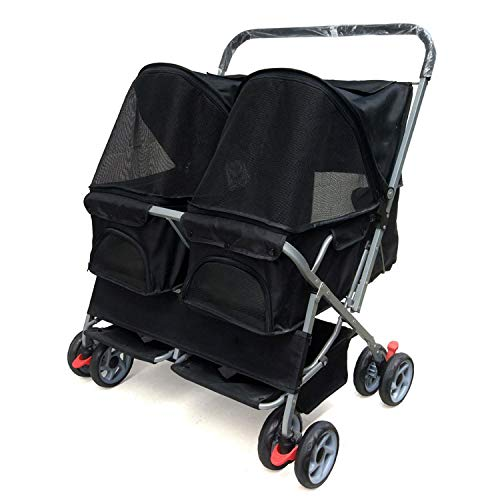 Black 8370100cm Black 8370100cm EDYUCGA Pet Accessories Two-seater Pet Stroller Lightweight Foldable Washable Cat And Dog Widening Care Out Pet Car Comfortable luxury cart (color   Black, Size   83  70  100cm)