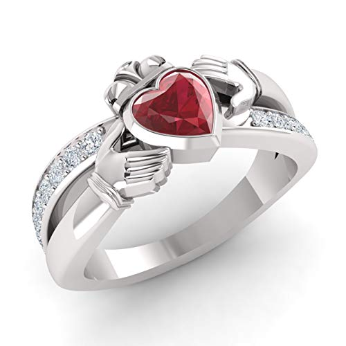 (Diamondere Natural and Certified Ruby and Diamond Engagement Ring in 14K White Gold | 0.81 Carat Claddagh Ring for Women, US Size 4)