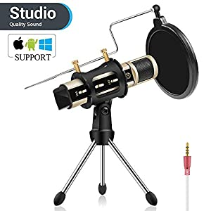 Studio Recording Microphone, ZealSound Condenser Broadcast Microphone w/Stand Built-in Sound Card Echo Recording Karaoke Singing for iPhone Phone Windows Garageband Smule Live Stream & Youtube (Gold) from ZealSound