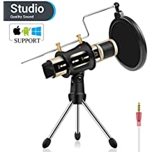 Studio Recording Microphone, ZealSound Condenser Broadcast Microphone w/Stand Built-in Sound Card Echo Recording Karaoke Singing for iPhone Phone Windows Garageband Smule Live Stream & Youtube (Gold)