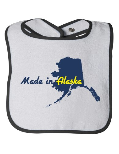 MADE IN ALASKA Baby Feeding Bib / Cute, Funny Infant Newborn AK Humor