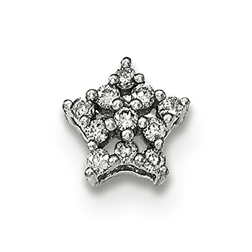 Or blanc 14carats Diamant flocon de neige pendentif diapositive