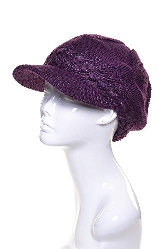 an. Beanie Beret Cap Visor Purple Metallic Wool Chenille Plush Lined