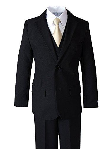 Spring Notion Big Boys' Modern Fit Dress Suit Set 3T Black w/Champagne Tie