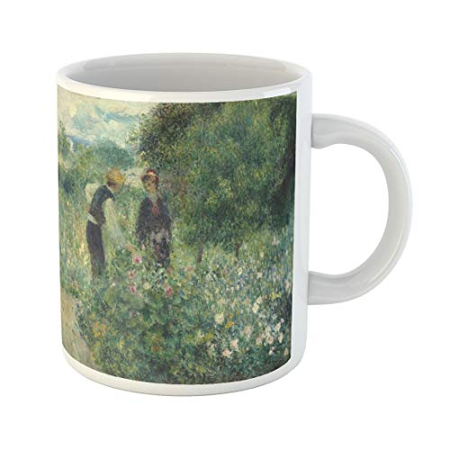 Semtomn Funny Coffee Mug Picking Flowers By Auguste Renoir 1875 French Impressionist Painting 11 Oz Ceramic Coffee Mugs Tea Cup Best Gift Or Souvenir