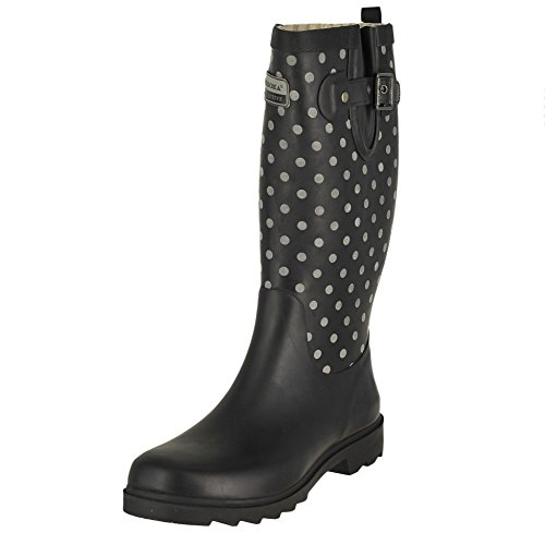 Chooka Flash Dot Tall Black Matte Womens Rain Boots Size 7M