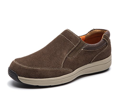 LINGGE Mens Casual Leather Slip-on Loafers,Lightweight Suede Shoes Coffee