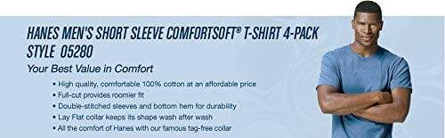Hanes Men's ComfortSoft Short Sleeve T-Shirt (4 Pack )