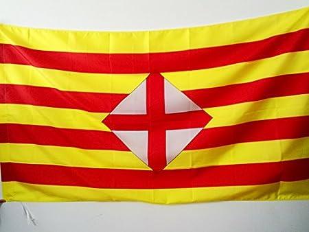 AZ FLAG Bandera de la Provincia DE Barcelona 150x90cm para Palo - Bandera BARCELONESA - CATALUÑA 90 x 150 cm: Amazon.es: Hogar