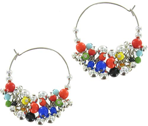 - Vintage Big Multi Color Lucite Hoop Bead Cluster Pierced Earrings 2